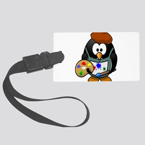 Penguin Artist with Art Pallet Luggage Tag