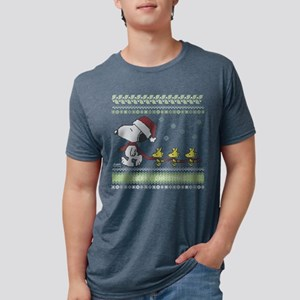 Snoopy Ugly Christmas Red Mens Tri-blend T-Shirt