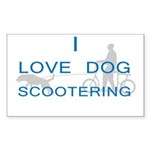 Dog Scootering Rectangle Sticker