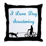 Dog Scootering Throw Pillow