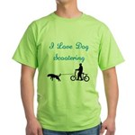 Dog Scootering Green T-Shirt
