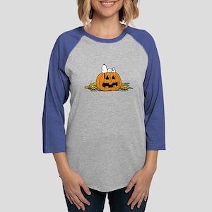 Snoopy  Jack-o-lantern Womens Baseball Tee