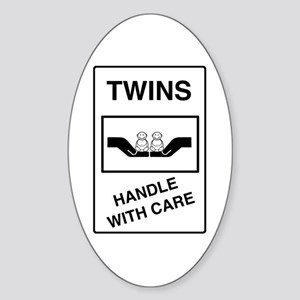 Twins Handle with Care Oval Sticker