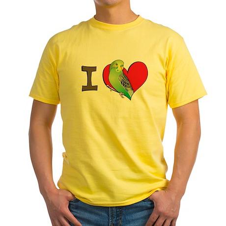 I heart parakeets (Green) Yellow T-Shirt