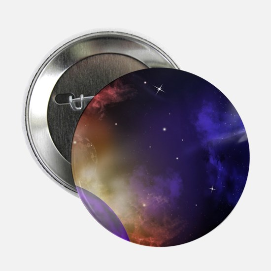 """Universe with Planet and Stars 2.25"""" Button"""