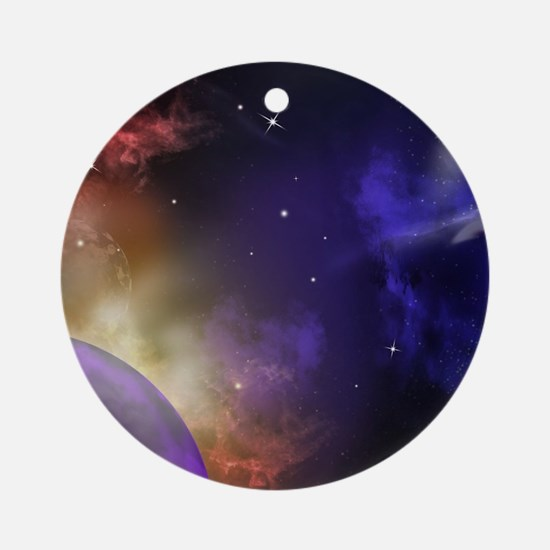 Universe with Planet and Stars Round Ornament