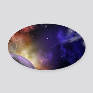 Universe with Planet and Stars Oval Car Magnet
