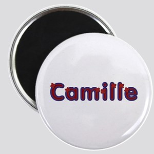 Camille Red Caps Round Magnet