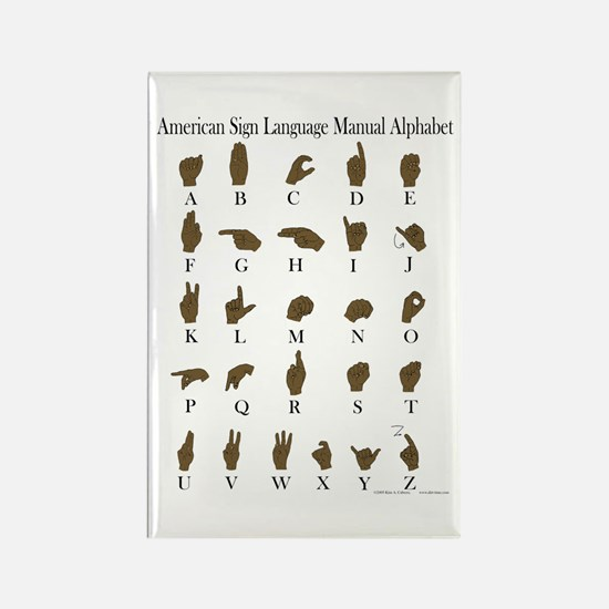 ASL Alphabet Rectangle Magnet