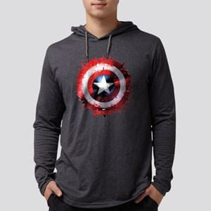 Avengers Cap Shield Spattered Mens Hooded Shirt