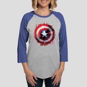 Avengers Cap Shield Spattered Womens Baseball Tee