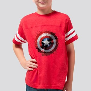 Avengers Cap Shield Spattered Youth Football Shirt