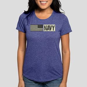 U.S. Navy: Navy (Black Fl Womens Tri-blend T-Shirt