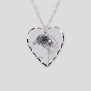 KoShamo hen head Necklace Heart Charm
