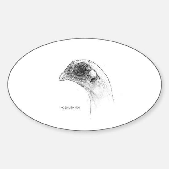 KoShamo hen head.jpg Sticker (Oval)