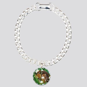 fawn resting in flowers Charm Bracelet, One Charm