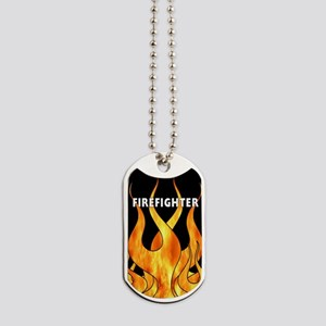 Firefighter Flames Dog Tags