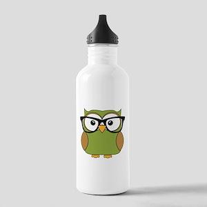 Funky Hipster Owl Water Bottle