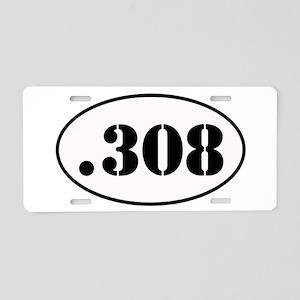 .308 Oval Design Aluminum License Plate