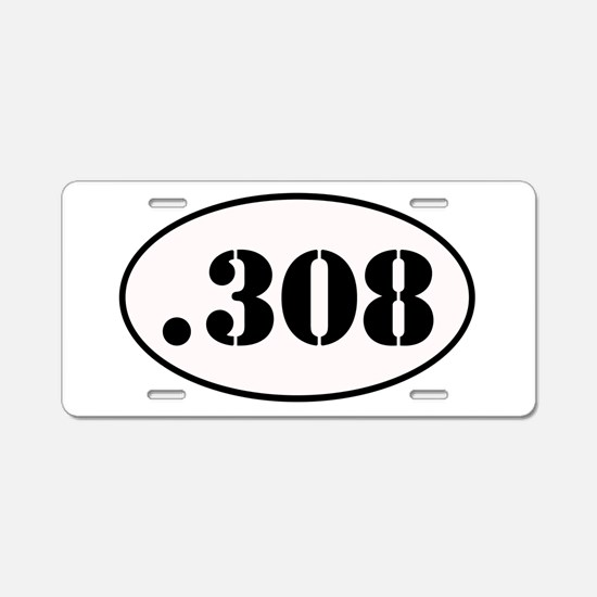 .308 Oval Design Aluminum License Plate