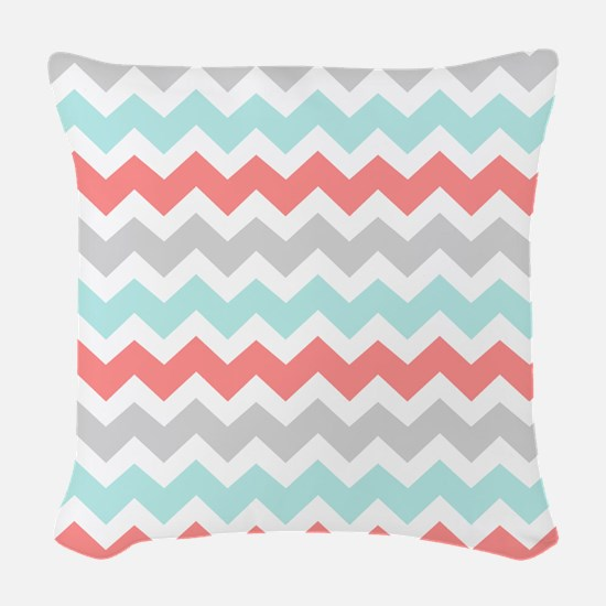 Aqua Coral Grey Chevron Woven Throw Pillow