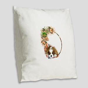 Cavalier Blenheim Burlap Throw Pillow