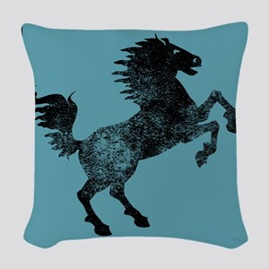Horse Silhouette (Blue) Woven Throw Pillow