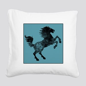 Horse Silhouette (Blue) Square Canvas Pillow