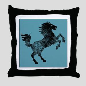 Horse Silhouette (Blue) Throw Pillow