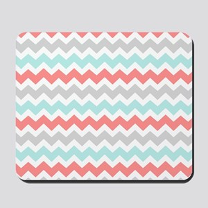 Coral Grey Aqua Chevron Pattern Mousepad