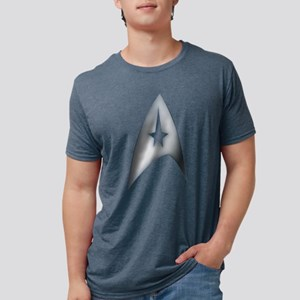 Gray Metallic Star Trek Log Mens Tri-blend T-Shirt