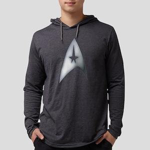 Gray Metallic Star Trek Logo Des Mens Hooded Shirt