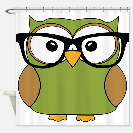 Funky Hipster Owl Shower Curtain