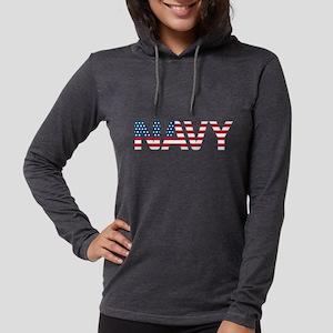 Navy Flag Womens Hooded Shirt