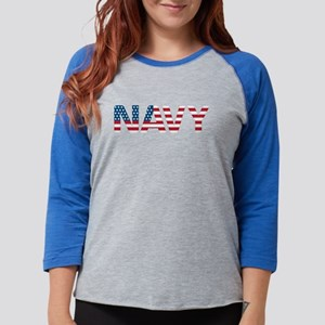 Navy Flag Womens Baseball Tee