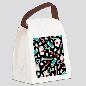 Dental Print Black with Red and Blue Canvas Lunch