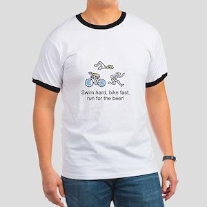 Run for the beer triathlon Ringer T-Shirt