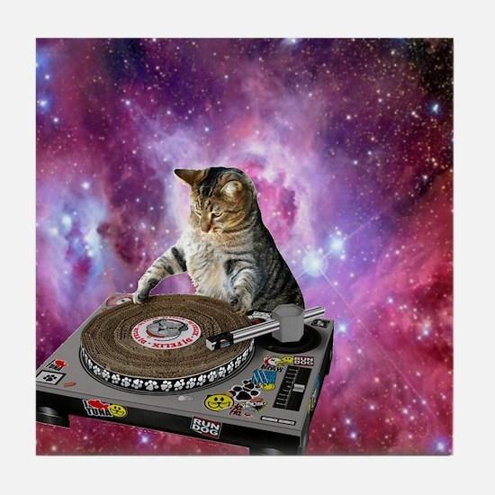 DJ Space Cat Tile Coaster