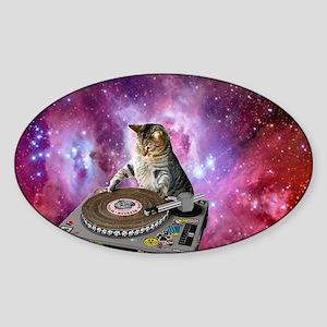 DJ Space Cat Sticker (Oval)