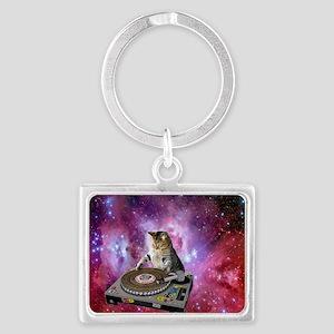DJ Space Cat Landscape Keychain
