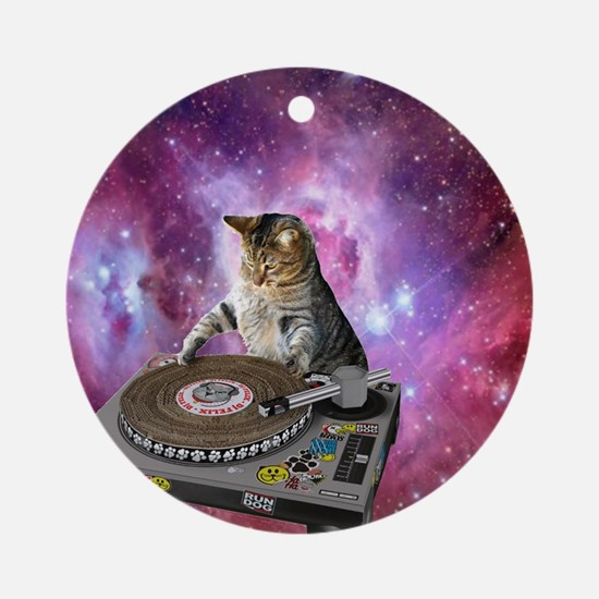 DJ Space Cat Round Ornament