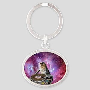 DJ Space Cat Oval Keychain
