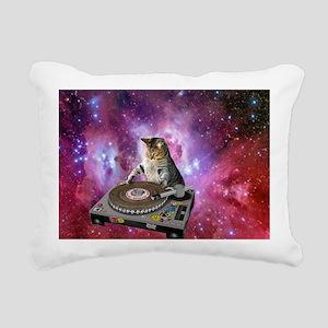 DJ Space Cat Rectangular Canvas Pillow