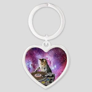 DJ Space Cat Heart Keychain