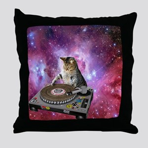 DJ Space Cat Throw Pillow