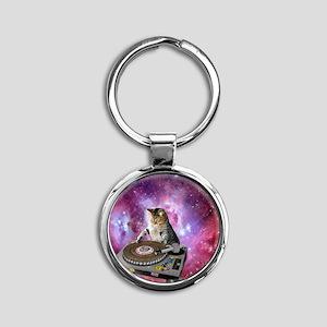 DJ Space Cat Round Keychain