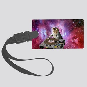 DJ Space Cat Large Luggage Tag