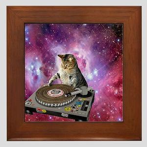 DJ Space Cat Framed Tile