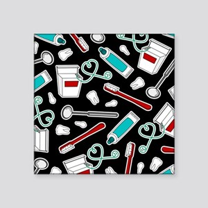 Dental Print Black with Red and Blue Sticker