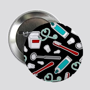 "Dental Print Black with Red and Blue 2.25"" Button"